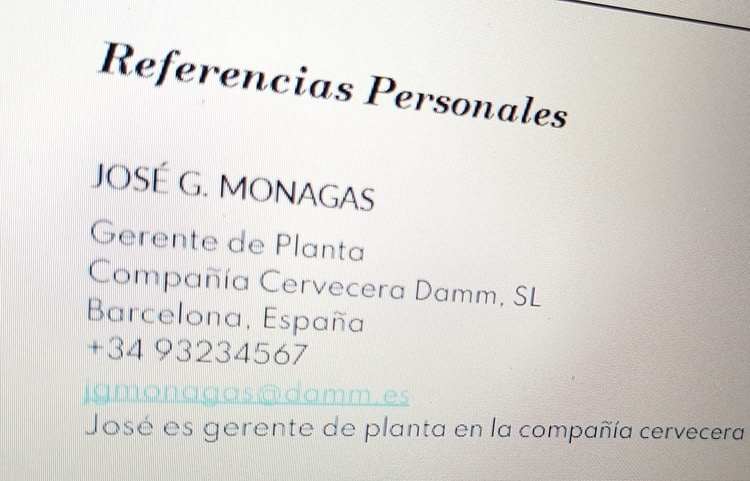 referencias cv